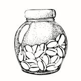 Graphic drawing with the image of a glass jar and coffee beans. Sketch, graphics for design prints, backgrounds, wallpaper,. Advertising, menus, packaging, cafe vector illustration