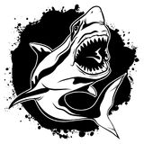Graphic drawing ink aggressive shark with open mouth. Vector illustration emblem of evil shark with open jaws on background black ink stains Royalty Free Stock Image