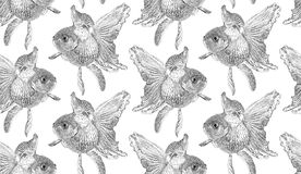 Vector seamless pattern with goldfish isolated on white background drawn by hand. Graphic drawing, pointillism technique. Underwater world. Black and white Royalty Free Stock Photography