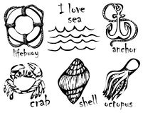 Graphic drawings of marine animals. Imitation of graphic drawings in ink. Drawing and creativity on the sea theme. Vector illustra Stock Images