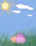 Graphic Easter Card. Graphics easter card with easter eggs, sun and clouds Royalty Free Stock Photography