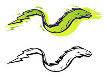 Graphic eel. Stylized vector electric eel in two color treatments Royalty Free Stock Photos