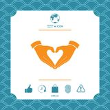 Heart shape made with hands. Graphic element for your design Stock Image