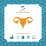 Human organs. Female uterus icon. Graphic element for your design Royalty Free Stock Images