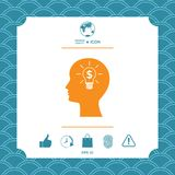 Man silhouette - Light bulb with dollar symbol business concept. Icon. Graphic element for your design Stock Image