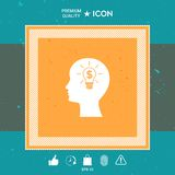 Man silhouette - Light bulb with dollar symbol business concept. Icon. Graphic element for your design Stock Photos