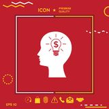 Man silhouette - Light bulb with dollar symbol business concept. Icon. Graphic element for your design Stock Photo
