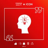 Man silhouette - Light bulb with dollar symbol business concept. Icon. Graphic element for your design Stock Images