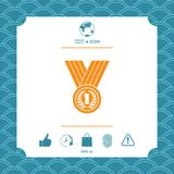 Medal with Laurel wreath. Icon. Graphic element for your design Royalty Free Stock Image