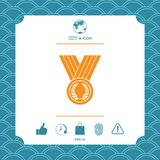 Medal with Laurel wreath, icon. Graphic element for your design Royalty Free Stock Photography