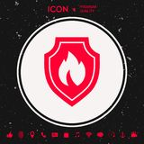 Shield with fire sign - protection icon. Graphic element for your design Stock Photography