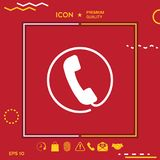 Telephone handset surrounded by a telephone cord - icon. Graphic element for your design Stock Photo