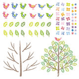 Graphic elements, birds and tree Royalty Free Stock Image