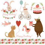 Graphic elements for birthday card Royalty Free Stock Images