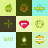 Graphic elements editable for design with fresh, nature, organic products. Royalty Free Stock Photo