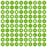 100 graphic elements icons hexagon green. 100 graphic elements icons set in green hexagon isolated vector illustration Stock Images