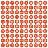 100 graphic elements icons hexagon orange. 100 graphic elements icons set in orange hexagon isolated vector illustration stock illustration