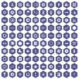 100 graphic elements icons hexagon purple. 100 graphic elements icons set in purple hexagon isolated vector illustration Royalty Free Stock Photography