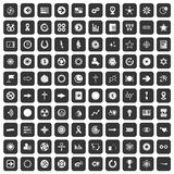 100 graphic elements icons set black. 100 graphic elements icons set in black color isolated vector illustration royalty free illustration