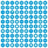 100 graphic elements icons set blue. 100 graphic elements icons set in blue hexagon isolated vector illustration royalty free illustration