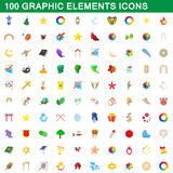 100 graphic elements icons set, cartoon style Royalty Free Stock Photos