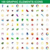 100 graphic elements icons set, cartoon style. 100 graphic elements icons set in cartoon style for any design illustration royalty free illustration