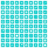 100 graphic elements icons set grunge blue. 100 graphic elements icons set in grunge style blue color isolated on white background vector illustration Stock Image