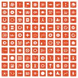 100 graphic elements icons set grunge orange. 100 graphic elements icons set in grunge style orange color isolated on white background vector illustration Stock Photo