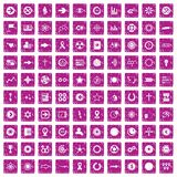 100 graphic elements icons set grunge pink. 100 graphic elements icons set in grunge style pink color isolated on white background vector illustration vector illustration