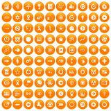 100 graphic elements icons set orange. 100 graphic elements icons set in orange circle isolated on white vector illustration vector illustration