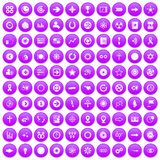 100 graphic elements icons set purple. 100 graphic elements icons set in purple circle isolated on white vector illustration royalty free illustration