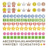 Graphic elements, medal, crown, badge, numbers and alphabet. Graphic elements and letterling, medal, crown, badge, numbers and alphabet Royalty Free Stock Photos
