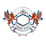 Graphic emblem with Brave Lion King, pentagonal star and ribbon. Royalty Free Stock Photography