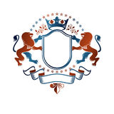Graphic emblem composed with Brave Lion King, monarch crown and Royalty Free Stock Photo