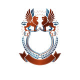 Graphic emblem composed with Brave Lions and beautiful ribbon. H Stock Image