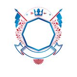 Graphic emblem composed with royal crown element, luxury ribbon Royalty Free Stock Photo