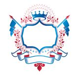 Graphic emblem composed with royal crown element, luxury ribbon Royalty Free Stock Image