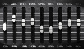 Graphic eq. Frequency of black graphic equalizer Royalty Free Stock Photos