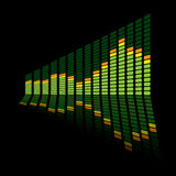 Graphic equalizer angle. Green music inspired graphic equalizer with reflection and black background Stock Image