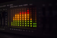 Graphic equalizer bars on an audio system. Close Up Selective Focus Stock Photo
