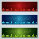 Graphic equalizer vector banners set. Graphic equalizer colorful vector banners collection Stock Photography
