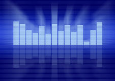 Graphic equalizer concept. Graphic equalizer in blue background, music concept Stock Photos