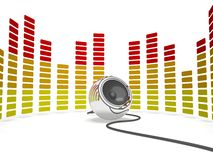 Graphic Equalizer And Speaker Shows Music Stock Photos