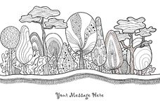 Graphic fantastic hand drawn forest royalty free stock photos