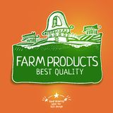 Graphic farm product label Royalty Free Stock Photos