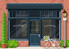 Graphic fashion shop facade. Stylish street store exterior design. Flat style. vector illustration