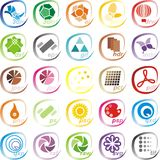 Graphic files icons. Set of 25 icons representing documents of graphic software Royalty Free Stock Photo