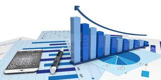 Graphic of financial analysis. Graphic positive financial analysis-Isolated Stock Photo