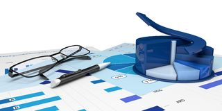 Graphic of financial analysis. Graphic positive financial analysis-Isolated Stock Image