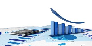 Graphic of financial analysis. Graphic positive financial analysis-Isolated Stock Photos